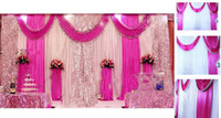 Wholesale Wine Red Curtains - Sequins Beads Edge Design Fabric Satin Drape Curtain Wedding Backdrop Canopy Ribbon Wine Party Stage Celebration Favors wd608