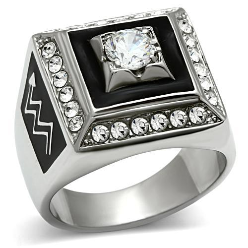 Men Rings High Polishing Stainless Steel Aaa Grade Cubic Zircon Setting Ring Super Selling Lead Free & Nickel No Coating