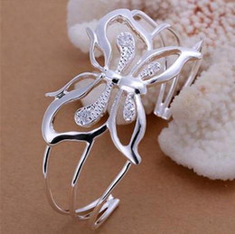 Wholesale Wholesale Sterling Silver Cuffs - NEW 925 STERLING SILVER FOUR BIG FLOWERS WIDE CUFF BANGLE BRACELETS WHOLESALE JEWELRY