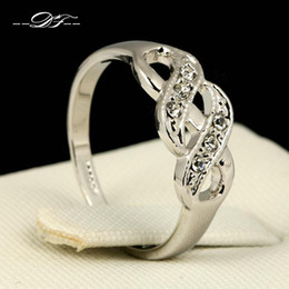 Wholesale Austrian Diamond - Real Platinum Plated CZ Diamond Charms Rings Jewelry Austrian Crystal For Women Gifts anel aneis joias Wholesale DFR226