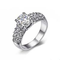anillo de oro circonio cz cz al por mayor-Cubic Zirconia CZ anillos de diamantes al por mayor de color plateado / oro rosa plateado de cristal boda / compromiso joyería para mujeres / niñas DFR070