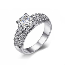 Cubic Zirconia CZ anillos de diamantes al por mayor de color plateado / oro rosa plateado de cristal boda / compromiso joyería para mujeres / niñas DFR070