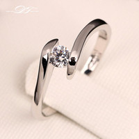 Wholesale Zirconia Solitaire Rings - Classic Round Cut CZ Diamond Wedding Engagement Rings Silver Color Platinum Plated Fashion Crystal Twisted Jewelry For Men and Women DFR198