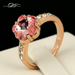 Wholesale Pink Cz Wedding Ring Sets - Pink Sakura Imitation Crystal Party Finger Rings 18K Gold Plated CZ Diamond Wedding Jewelry For Women Gift anel Wholesale DFR175