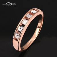 Wholesale Three Stone Channel White Plated - Simple Elegant Imitation Crystal 18K Gold Plated Ring For Men and Women CZ Diamond Engagement Jewelry Wholesale anel DFR313