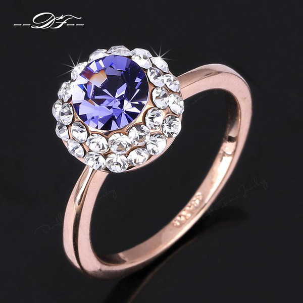 Unique Chic Shine Blue Imitation Gemstone Engagement Finger Rings 18K Gold Plated Fashion Crystal Party Jewelry For Women DFR305