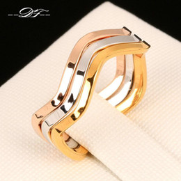 Wholesale Silver Wedding Ring Waves - Anti Allergy 3 Color Rounds Wave Rings Sets Silver Color 18K Rose Gold Plated Fashion Brand Rock Jewelry For Men and Women Wholesale DFR178