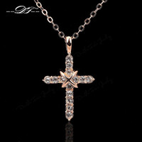 Wholesale White Gold Diamond Cross Pendant - High Quality Cross CZ Diamond Party Necklaces & Pendants Silver 18K Platinum Plated Crystal Wedding Jewelry For Women Girls Wholeslae DFN451
