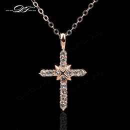Wholesale Silver Diamond Necklaces For Women - High Quality Cross CZ Diamond Party Necklaces & Pendants Silver 18K Platinum Plated Crystal Wedding Jewelry For Women Girls Wholeslae DFN451