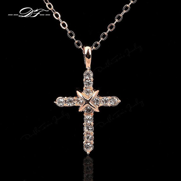 De alta Calidad Cruz CZ Diamond Party Collares Colgantes de Plata / 18 K Plateado Cristal Plateado Joyería de La Boda Para Mujeres Niñas Wholeslae DFN451