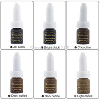 Wholesale Eyebrow Lip Tattooing - Hot Sale Cheap 6pcs Lot Golden Rose 10ML permanent makeup tattoo ink Pigment Eyebrow Lip Pigment Supply kit High Quality