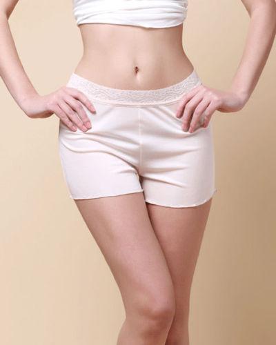 여성용 100 % 순수 실크 니트 레이스 허리띠 보이 다리 레깅스 반바지 솔리드 사이즈 M L XL