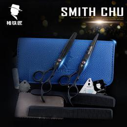 Wholesale Smith Chu Scissors Black - Professional 6 inch hair scissors set smith chu black sand blasting matte cutting shears hairdressing thinning straight scissors set XH13-H