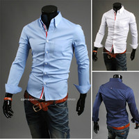 Wholesale Number Tracks - New Arrival free shipping with tracking number men's shirts Slim fit stylish Dress 2013 long Sleeve Shirts size M-XXL 9007