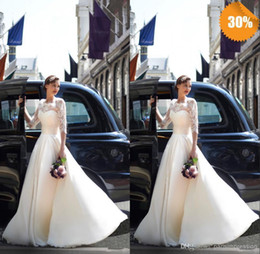 Wholesale High Collar Dresses For Church - New Collection Lace Gowns For Wedding 3 4 Long Sleeve High Neck Covered Button Sweep Train A Line Church Sheer Bridal Gowns
