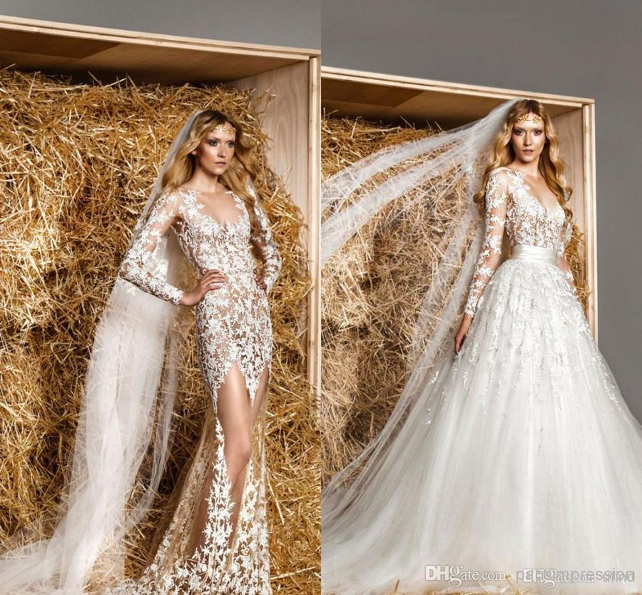 Discount sexy zuhair murad long sleeve bridal gowns sheer wedding discount sexy zuhair murad long sleeve bridal gowns sheer wedding dresses scoop empire waist chapel train see through detachable lace wedding gowns top of junglespirit Images