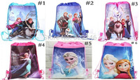 Wholesale Drawstring Bags Princess - 30pcs lot Factory sale Cartoon princess Drawstring Backpack School Bags Party Favors bag 36*28cm Non Woven Fabric