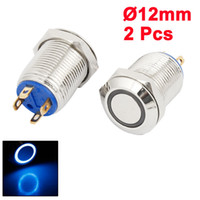 Wholesale 2 mm SPST Momentary DC V Blue LED Lighted Car Metal Push Reset Switch