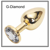 Wholesale Golden Stainless Steel Butt Plug - Steel Metal Anal Plug Butt Toys Sex Products Anal Golden Anal Jewelry Diamond Anal Toys Small Size Anal Sex Toys Stainless Steel Anal Plug