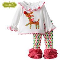 el punto rojo libera el envío al por mayor-El más nuevo estilo de la ropa de los cabritos de la Navidad fijó la camiseta roja del punto algodón de algodón de las muchachas de los bebés pijamas de los niños con el envío libre querido