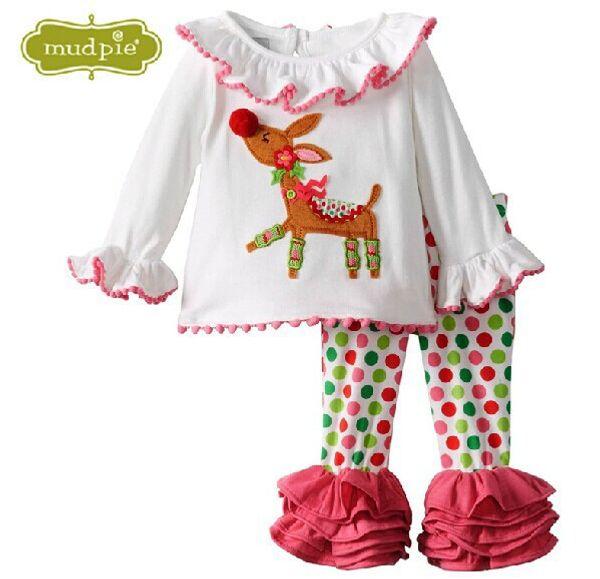 più nuovo stile natale abbigliamento per bambini set rosso punto maglietta in cotone halloween neonate vestito pigiama per bambini con trasporto libero caro