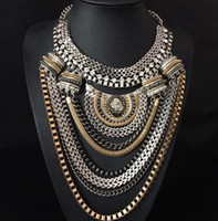 Wholesale Dress Style Jewelry - Explosion models ! Big Fashion Exaggerated Brand Style Multi-ethnic Women's Gold Plated Chains Necklace Evening Dress Jewelry