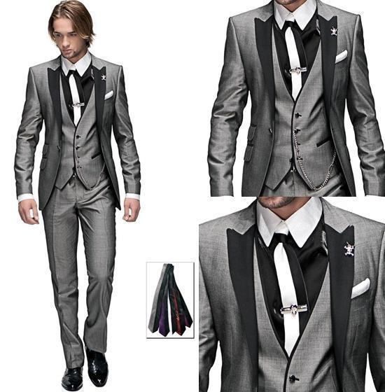 2014 New Shiny Slim Fit Groom Tuxedos Silver Grey Best Man Peak ...