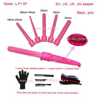 Wholesale Wet Gloves - High Quality 410F 5Part Curler 5P Hair Roller 5 in1 Removable Hair Curling Iron Conical Curling Wand With Glove comb clip