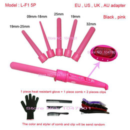 High Quality 410F 5Part Curler 5P Hair Roller 5 in1 Removable Hair Curling Iron Conical Curling Wand With Glove comb clip Coupon