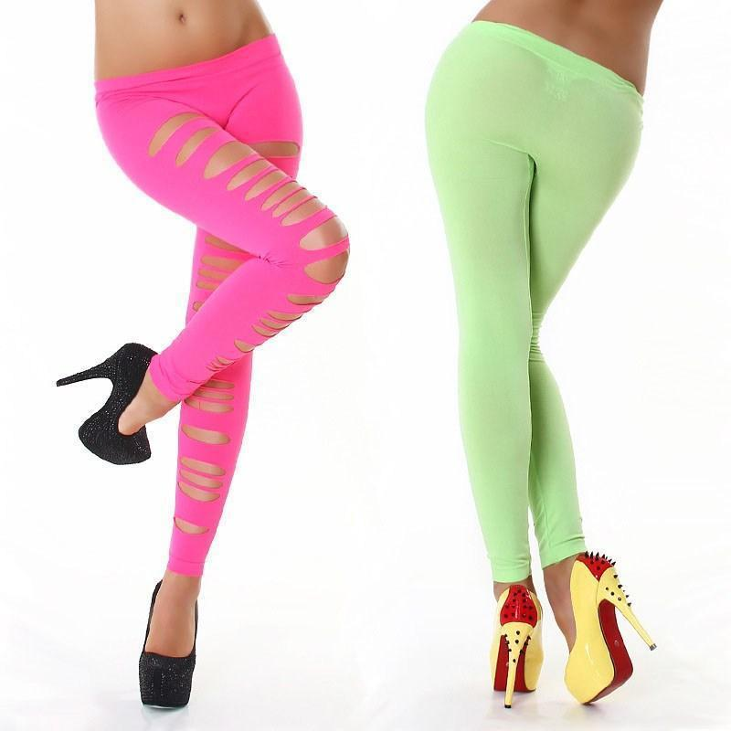 e3fc0f6ab05 Sexy Fashion Women s Candy Color Ripped Hole Nine Points Leggings ...