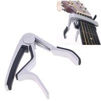 Wholesale Guitar Capo Silver - Guitar Capo Made of Aluminium alloy Silver or Black Color Top Quality Electric Acoustic Guitar Capo I59