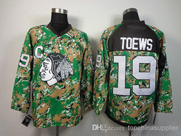 Wholesale Cheap Camo Uniforms - Toews #19 Blackhawks Camo Jersey Mens Hockey Jerseys Cheap Outdoor Hockey Jersey Ice Hockey Players Sports Uniform All Team Athletic Apparel