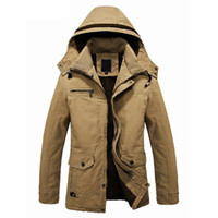 Wholesale Cotton Lined Coats - S5Q Men's Fur Lined Jacket Thick Long Warm Winter Fit Hooded Coat Overcoat Parka AAADXY