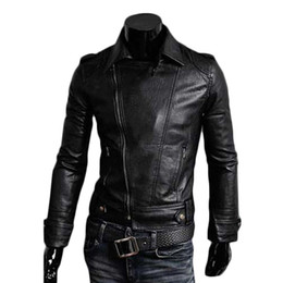 Wholesale Leather Vintage Coat - S5Q Men's Punk Car Winter Coats Short Outwear Vintage Slim Fit Autumn PU Leather Jackets AAADXV