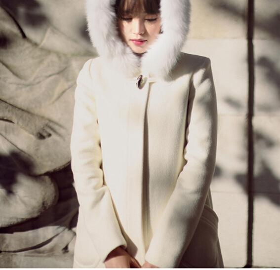 2018 Women'S Coats Fur Hooded Cape White Hooded Woolen Coat Collar ...