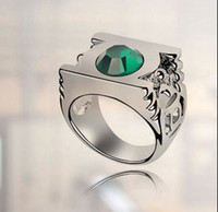 Wholesale Dc Tin - Austrian Crystal Wedding Rings For Women Fashion Jewelry 18k White Gold Plated Green Lantern DC Super Hero Metal Power Ring 4183