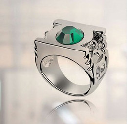 Wholesale White Wedding Metal Lantern - Austrian Crystal Wedding Rings For Women Fashion Jewelry 18k White Gold Plated Green Lantern DC Super Hero Metal Power Ring 4183