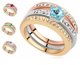 Wholesale Swarovski Rings Rose Gold - Austrian Crystal Stacking Rings Jewelry Made With Swarovski Elements 18k Rose Gold Plated Womens Wedding and Engagement Ring Set 16652