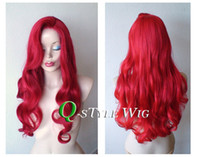 Wholesale Red Long Wig Halloween - Jessica rabbit hairstyle inspired Synthetic Red wig cosplay masquerade Halloween Cosplay Queen scroll Mermaid Princess anime wig