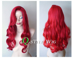 Wholesale Masquerade Wigs - Jessica rabbit hairstyle inspired Synthetic Red wig cosplay masquerade Halloween Cosplay Queen scroll Mermaid Princess anime wig