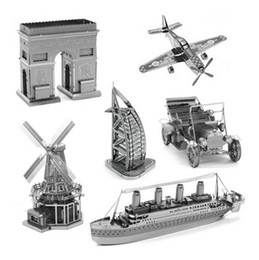 Wholesale Planes Kits - Educational Puzzles 3d Puzzle Plane Ship Model Puzzle 3D Metal Works Model Kits DIY Toys In Stock