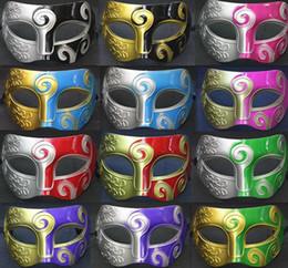 Großhandel Mens Halloween Party Halbe Gesicht Farbe Spritzen Prince Pvc blume Maske Halloween Maskerade Masken Dance party Maske Für Männer Hm04