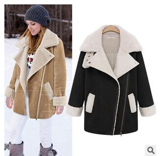 2018 2014 New Winter Women Faux Shearling Suede Overcoat Large ...