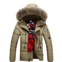 Wholesale Military Fur Coat Men - S5Q Men Military Warm Fur Collar Coat Winter Thick Duck Down Coat Hoodie Jackets AAADXR