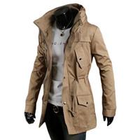 Wholesale Green Hoodie Trench - S5Q Men Vintage Military Coat Long Slim Trench Jackets Warm Winter Parka Hoodie AAADXK