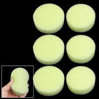 Wholesale Car Waxes - Round Car Wax Polishing Sponge Cleaning Pad Tool Yellow 9.5cm 6 Pieces