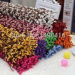PiP beads wholesale online shopping - 100pcs Diy Wedding Garland Artificial Flower Head Ring Pip Berry Flower Stem DIY Wreath Simulation Flower Bead Acceorry