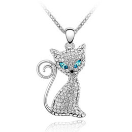 $enCountryForm.capitalKeyWord UK - Rhinestone Charm Pendant Cute Cat Pendants Austrian Crystal Jewelry Women Necklaces made with Swarovski Elements 18K White Gold Filled 707