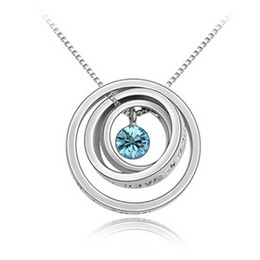 Wholesale 18krgp Necklace - Charm Designer Jewelry Fashionable Round Pendants Austrian Crystal Necklace For Women made with Swarovski Elements 18KRGP Lucky Circle 3845