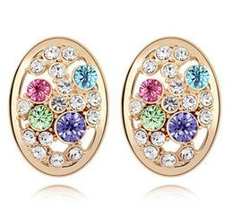 embellished jewelry Canada - New 2019 Fashion Brand Stud Earrings For Women Embellished With Crystals From Swarovski Elements Korea Trendy Jewelry 7189